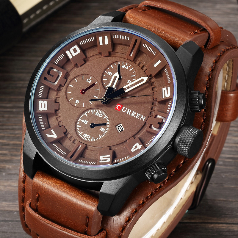 все цены на Relogio Masculino Curren Army Military Quartz Mens Watches Top Brand Luxury Leather Men Watch Casual Sport Male Clock Watch 8225