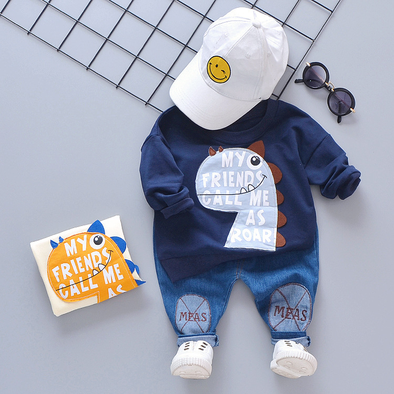 Boy suit Spring suit Dinosaur letter Children leisure round collar Two sets of baby go out to wear 1 4 year old tide in Clothing Sets from Mother Kids