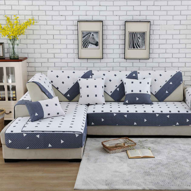 Striped Sofa Covers Protector Slip Resistant Slipcover Sofa Seat  Combination Cotton Couch Cover For Living Room