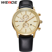 WEIDE Военная Спортивные Часы Мужчины Luxury Brand Золотой Циферблат Аналоговый Дисплей Кожаный Ремешок Смотреть Водонепроницаемый Мужчины Наручные Часы