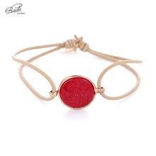 Badu Natural Stone Geometric Bracelet Women Elastic String Adjustable Bracelets Charming Fashion Girls Hand Accessory Wholesale