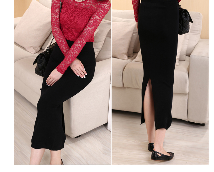 Fashion Women's Skinny Long Pencil skirt Bohemian Open Fork ...