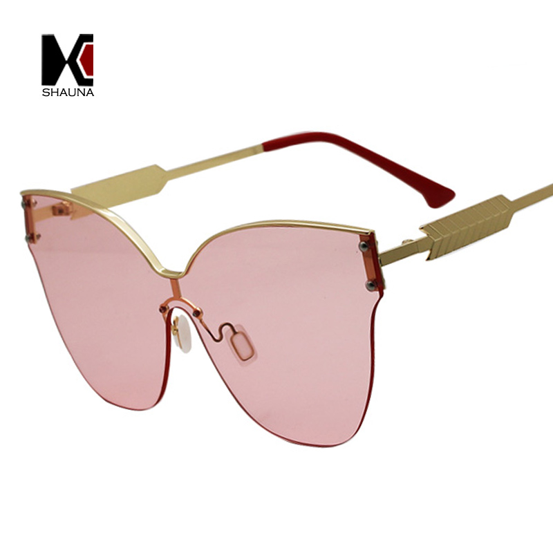 SHAUNA Oversize Half Frame Cat Eye Sunglasses Women Fashion Clear Yellow Pink Sun Glasses Men 6