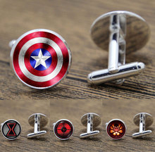 Superhero cuff links Super hero Avengers cufflinks Captain America cuff button Thor cufflinks cuff links for men boys cheap Zinc Alloy Glass Unisex R0001 Trendy Tie Clips Cufflinks Fashion