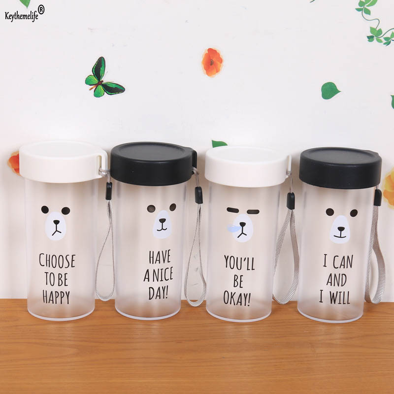 Keythemelife Cartoon Frosted Water Bottle Plastic Bottle Eco-Friendly Drinkware For Outdoor Sports Travel Water Bottle 2C