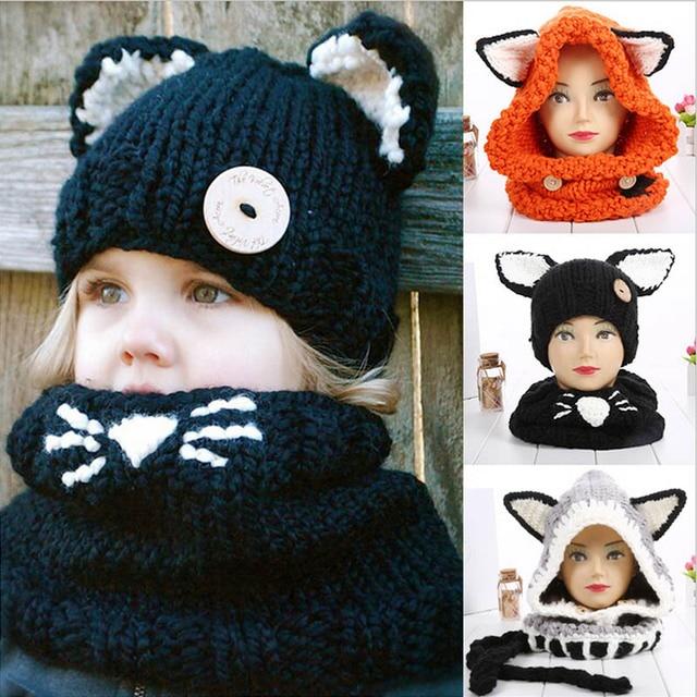 fef8b035dba Fox Winter Children Ear Hats Outdoor Windproof Kids Scarf Cowl Caps Shawls  Hooded Crochet Boys Girls