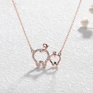Image 1 - Hollow Heart Pig Pendant Necklace Cute Pig Animal Unique Charms gorgeous silver 925 jewelry Animal for Women Girl gift