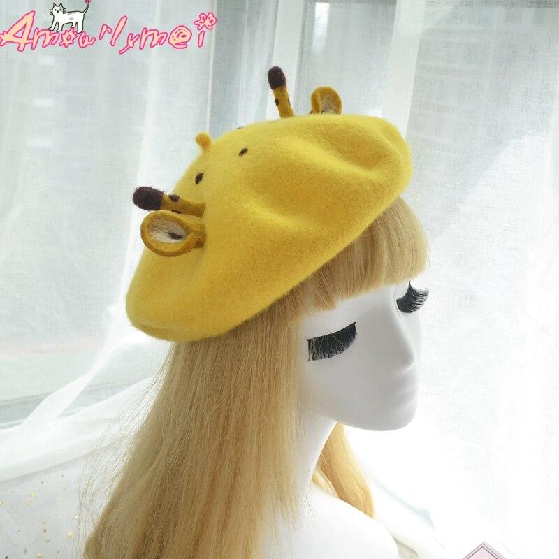 856f584539a20 Japanese Style Mori Girl Lolita Kawaii Cartoon Giraffe Beret Cap Boina  Feminino For Women Winter Woolen