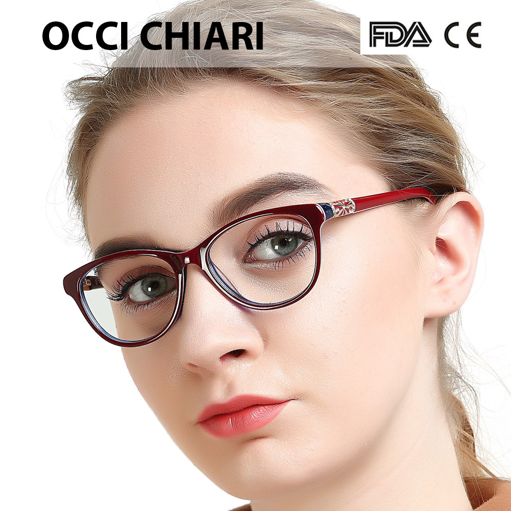 Image 1 - OCCI CHIARI High Quality Acetate Glasses Men Retro Vintage Prescription Glasses Women Optical Spectacle Frame Round OC7205Womens Eyewear Frames   -