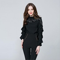 High quality heavy industry beading blouse female 2018 Spring Women Butterfly Sleeves Blouses Black White yarn Shirts tops L295