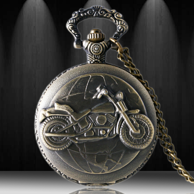 Free Drop Shipping 3D Bronze Motorcycle Design Pocket Watch For Men Women With N