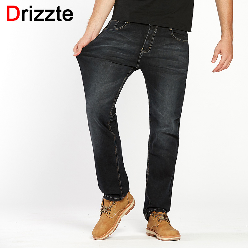 Drizzte Mens Jeans Plus Size 30-44 Stretch Denim 4 colors Men's Straight Jean Pants Casual Relax Loose Fit Jeans Trousers Pants sulee brand autumn winter mens heavyweight stretch denim jeans casual fit loose relax trousers pants plus size 42 44