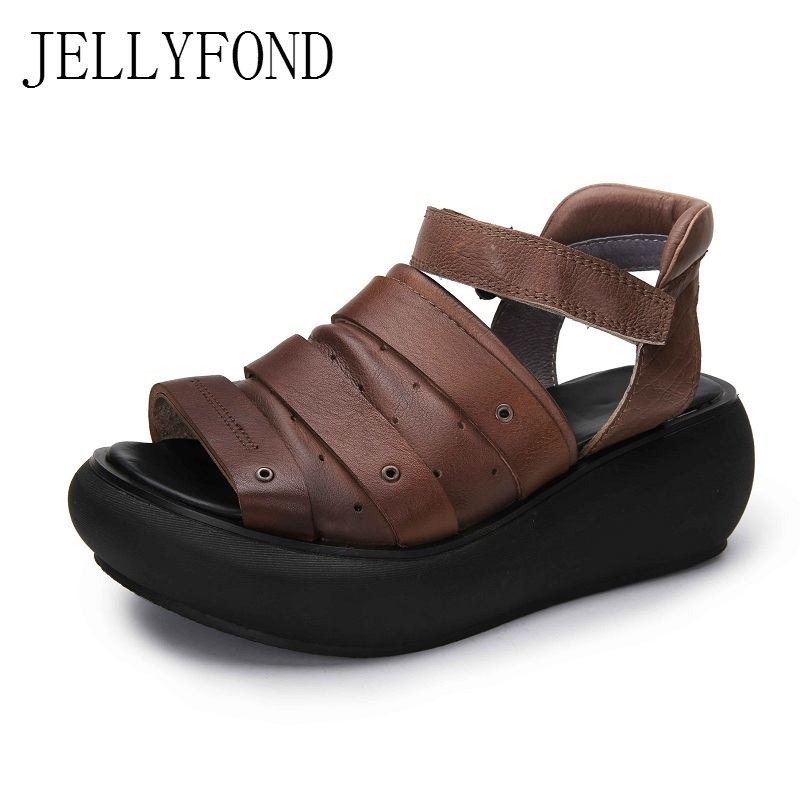 Gladiator Sandals Women Genuine Leather Open Toe Studded Platform Wedge Summer Shoes Woman Handmade Retro Rome Sandals candy color genuine leather vintage style women casual sandals 2017 designer open toe platform wedge handmade summer shoes