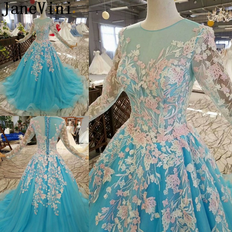 JaneVini 2018 Newest Blue Wedding   Dress   Party Women   Bridesmaid     Dresses   Long Sleeve Sweep Train Prom Gowns Beaded Lace Formal