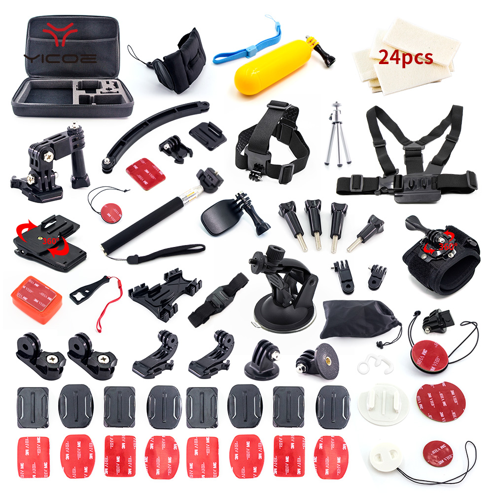 for Gopro hero 6 5 4 3 Case Tripod Self Stick Mount Helmet Go Pro SJCAM SJ4000 xiaomi yi 4k mijia Action Camera Accessories Kit shoot action camera accessories set for gopro hero 5 6 3 4 xiaomi yi 4k sjcam sj4000 h9 chest strap base mount go pro helmet kit