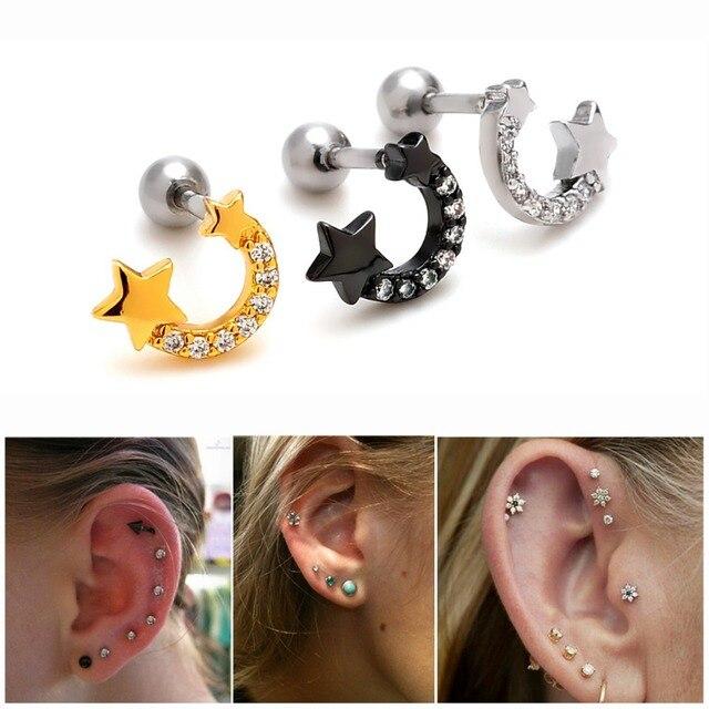 1 Piece 16g Rhinestone New Stars Horseshoe U Shape Cute Ear Stud Cartilage Earring Tragus Helix