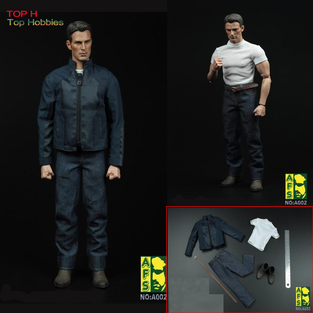 AFS A002 Captain America Jacket Jeans Boots Suit Set Fit for HT Body 1/6 Scale (In Stock) Phicen Action Figure Clothing Annex 1 6 women scale action figures silver imitation leather glittered female clothing suit body underwear shorts set fit 12 phicen