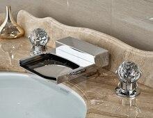 Бортике хром закончил Ванная комната бассейна кран водопад смеситель с двойной кристалл ручки