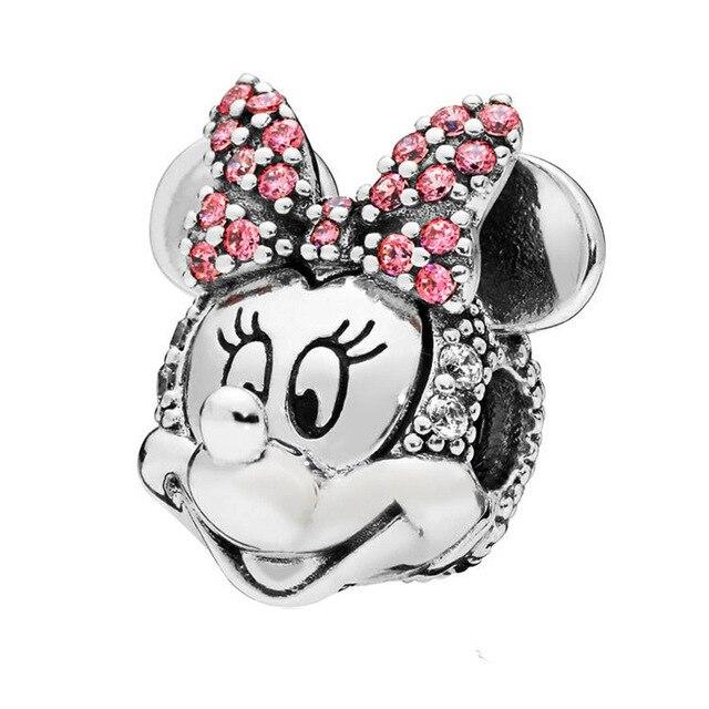 275a7b9d5b04 Plata esterlina 925 Minnie brillante retrato Clip encantos encaja Original  Pandora pulseras y collar de fabricación de joyas