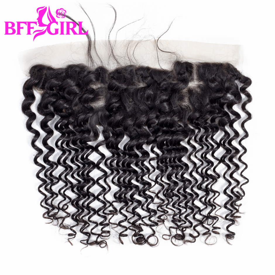 BFF GIRL Deep Wave Lace Frontal Closure Ear to Ear 13*4 Closure With Baby Hair Natural Color Remy Human Hair Frontal