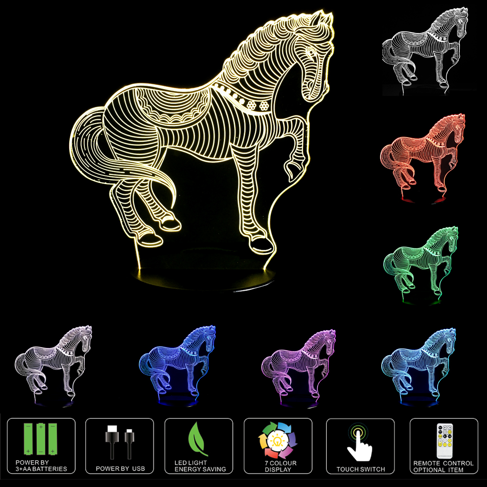 Table lamps gt battery led wireless lamp wireless usb by kartell - Horse Color Changing Led Night Light 3d Optical Illusion Touch Button Usb Powered Lamps China
