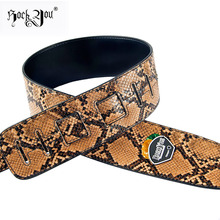 Rock You Emulational Snakeskin Bass Guitar Strap Acoustic Guitar Belt Strap Electric Bass Belt