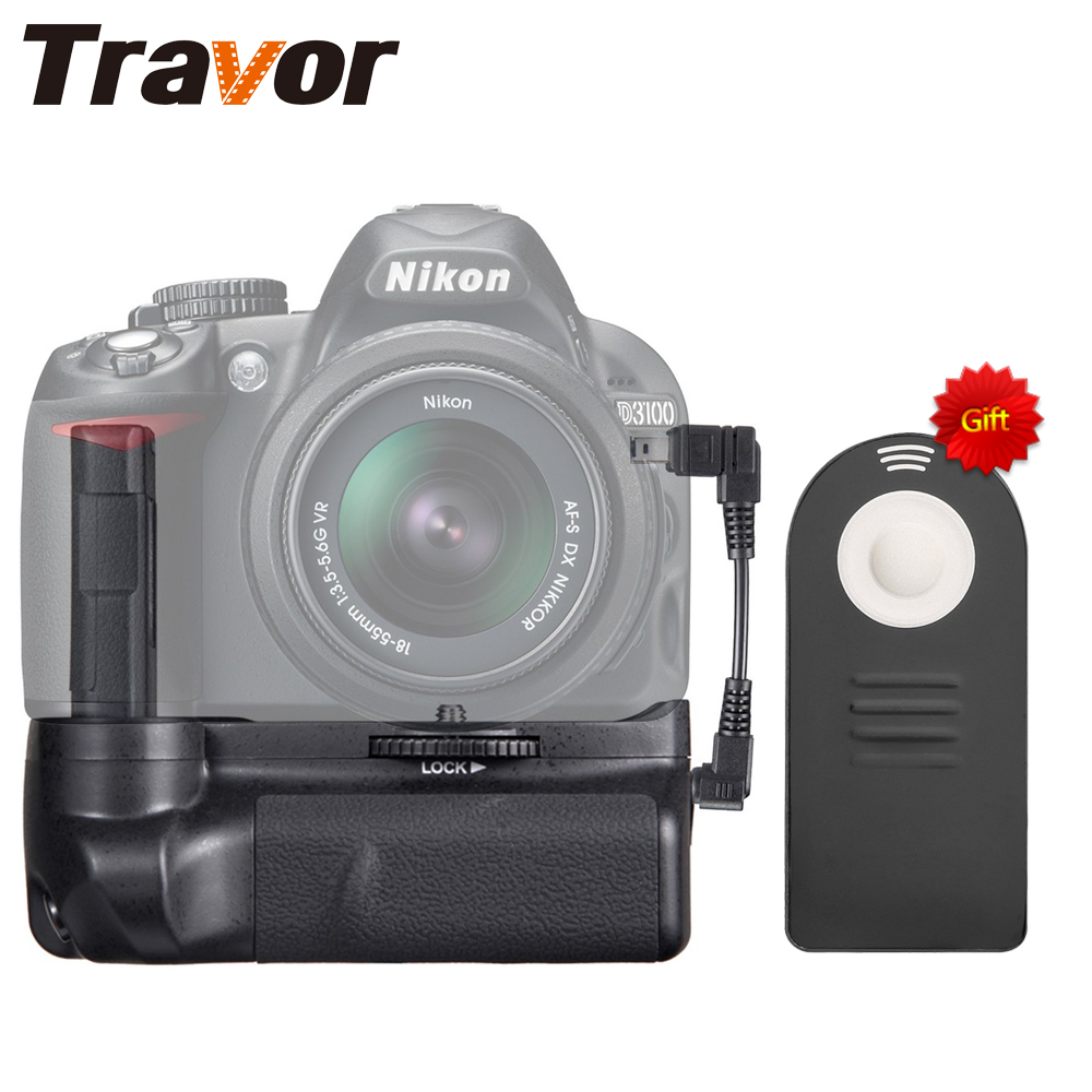 Travor Professional Battery Grip for Nikon D3100 D3200 D3300 DSLR camera with wireless remote control as a gift for free