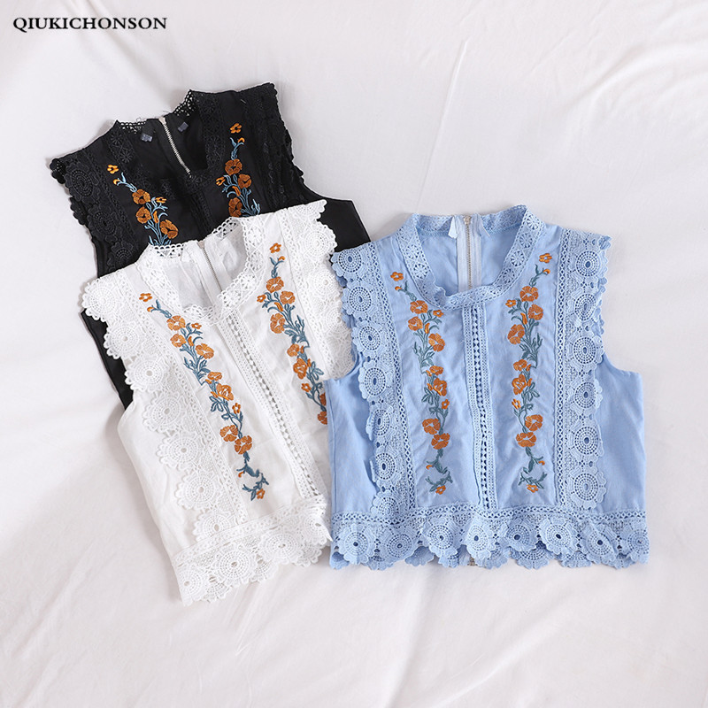 Qiukichonson Vintage Embroidery Sleeveless Womens Tops And Blouses Bohemian Lace Patchwork Hollow Out Ladies Shirts Tank Top