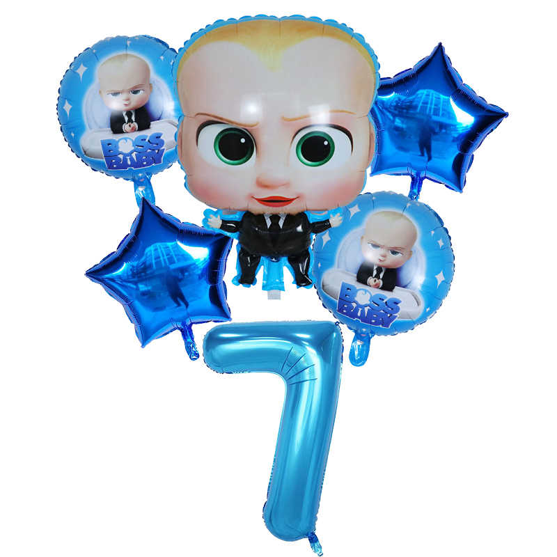 6pcs Boss baby Foil Balloons 30'' blue number balloon Birthday Party Decorations Air Globos boys Kids Toys Baby Shower Supplies