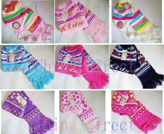 scarves 28sets/lot new Set Boys girls baby Beanie Scarf Cap Crochet Bonnet Hats