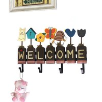 Wooden WELCOME Letter Hook Animal Welcome Wall Key Decorative Hooks Home Decor Crafts Living Room Clothes Rack Hat Bag Holder