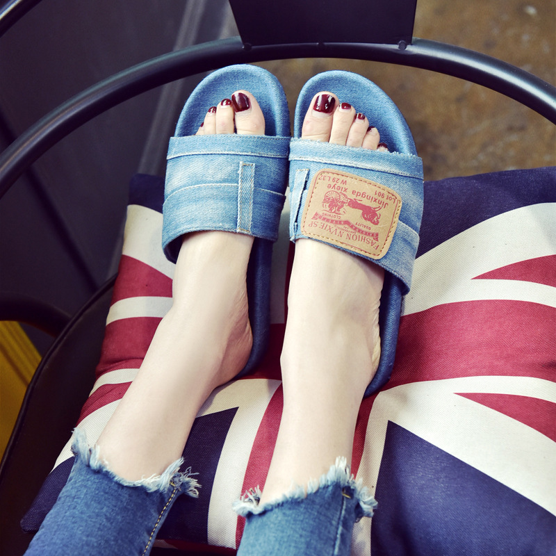 Designer Women Summer Slippers Flat Denim Sandals Outdoor Comfortable Anti Slip Zapatos Mujer Casual jean Shoes sweet women high quality bowtie pointed toe flock flat shoes women casual summer ladies slip on casual zapatos mujer bt123