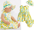 4sets/lot baby Girls suit kids clothes children sleeveless flower dress+underwear+caps boys set 0419 sylvia 44777607195
