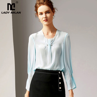 2019 100% Pure Silk Women's Runway Shirts O Neck Long Sleeves Ruched Elegant Shirt Blouses