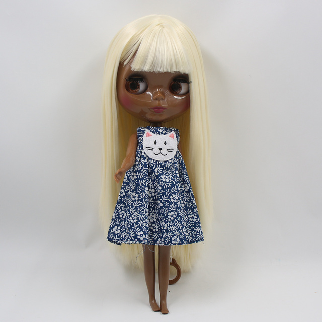 Blyth doll super balck Darkest skin tone 30cm soft gold straight hair joint body original body icy sd high quality gifts toy