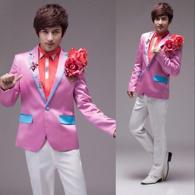 Hombres de la cara con una rosa vestido de flores de seda trajes de ...