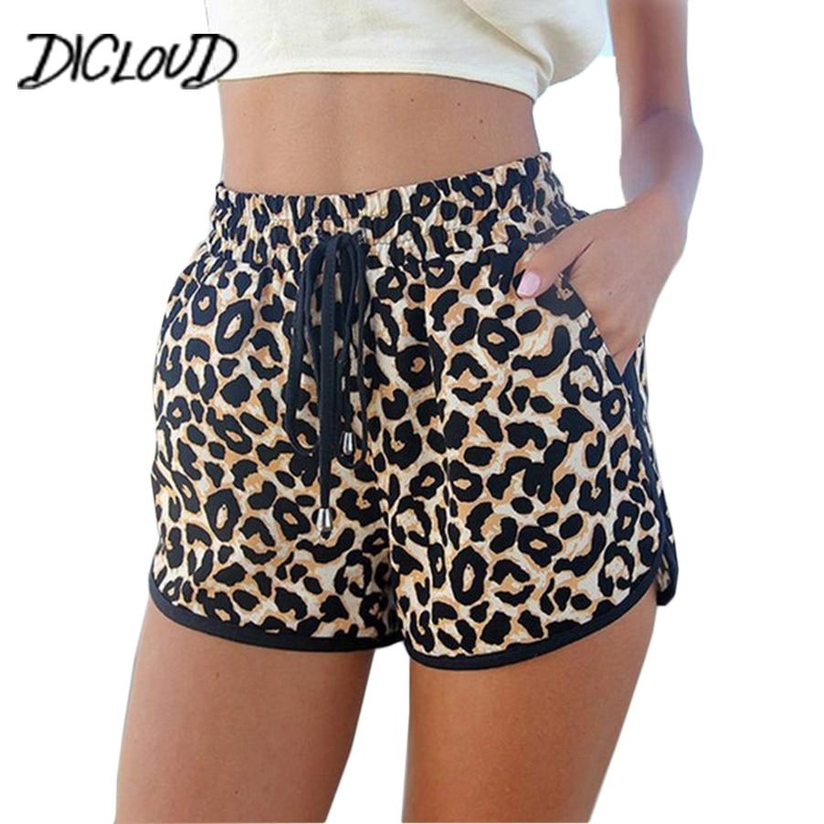 DICLOUD New Leopard Print Sexy Shorts Women 2018 Harajuku Loose High Waist Shorts Female Fashion Casual Summer Shorts XXL Шорты