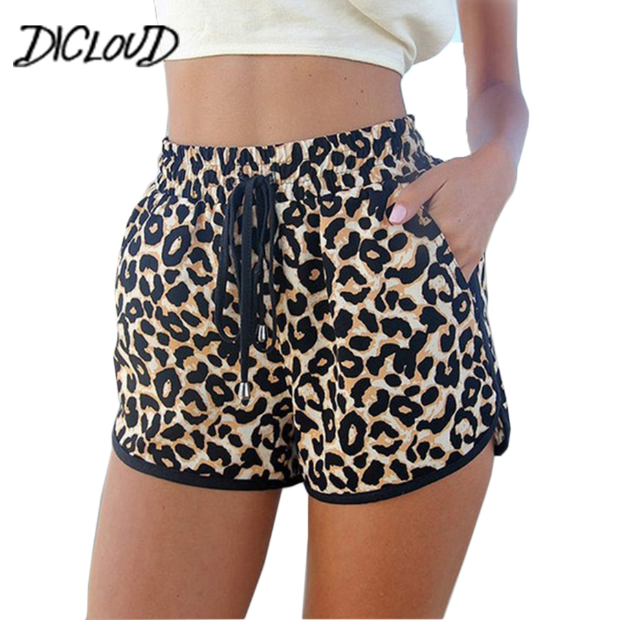 DICLOUD New Leopard Print Sexy Shorts Women 2018 Harajuku Loose High Waist Shorts Female Fashion Casual Summer Shorts XXL