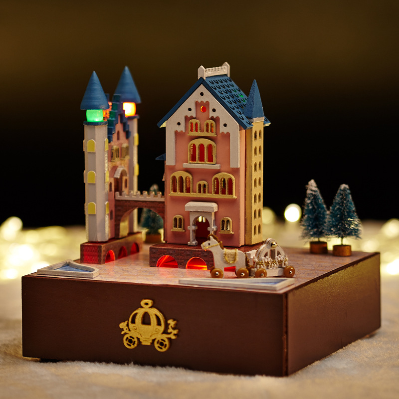 Castle Dollhouse Furniture #1: Doll House Include Dust Cover Large Cafe Miniature Wooden Dollhouse  Furniture Model Toy Christmas Gift CASTLE ROTATING CARRIAGE