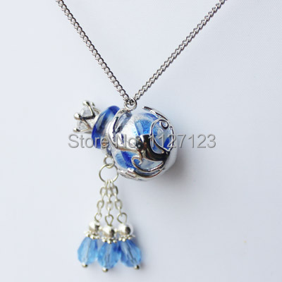 Free shipping!!1pcs Aromatherapy diffuser necklace( Colors:blue),Murano perfume bottle necklace,Essential oil bottle necklace