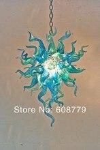 лучшая цена Free Shipping New Design Art Lighting Blown Glass Blue Chandelier