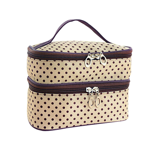 Hot Fashion Womens Fashion Dots Pattern Double Layer Makeup Bag(Beige) Beauty Bag Travel ...
