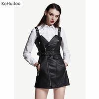 KoHuiJoo 2017 Autumn Winter Sexy Short Leather Dresses Women Zipper Belted Strap Pu Faux Leather Dress