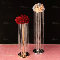 Free Shipping Wedding Crystal Centerpiece Gold flower stand Table Centerpiece Wedding Decoration 10pcs/lot