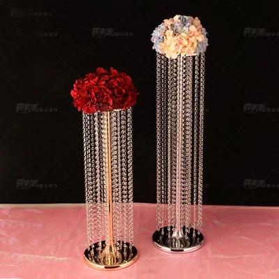 Livraison gratuite mariage cristal pièce maîtresse or fleur stand Table pièce maîtresse mariage décoration 10 pcs/lot