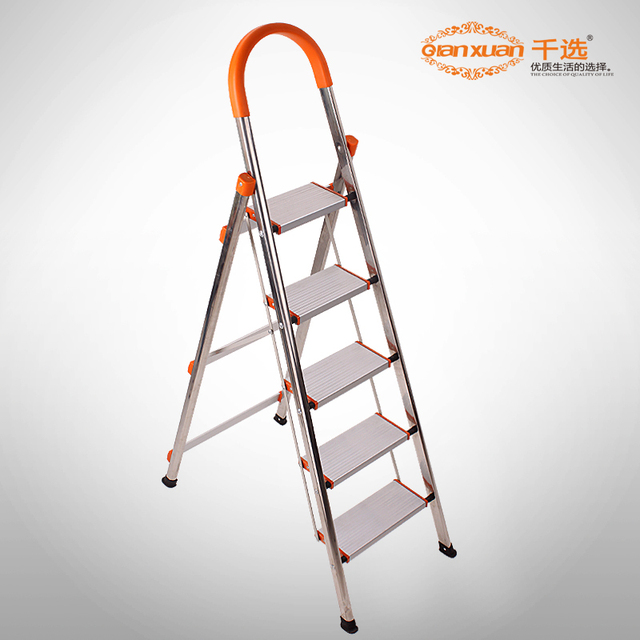 Stainless Steel Household Stair 5 Ladder Folding Ladder Shinnied Thickening  Ladders  Free Shipping