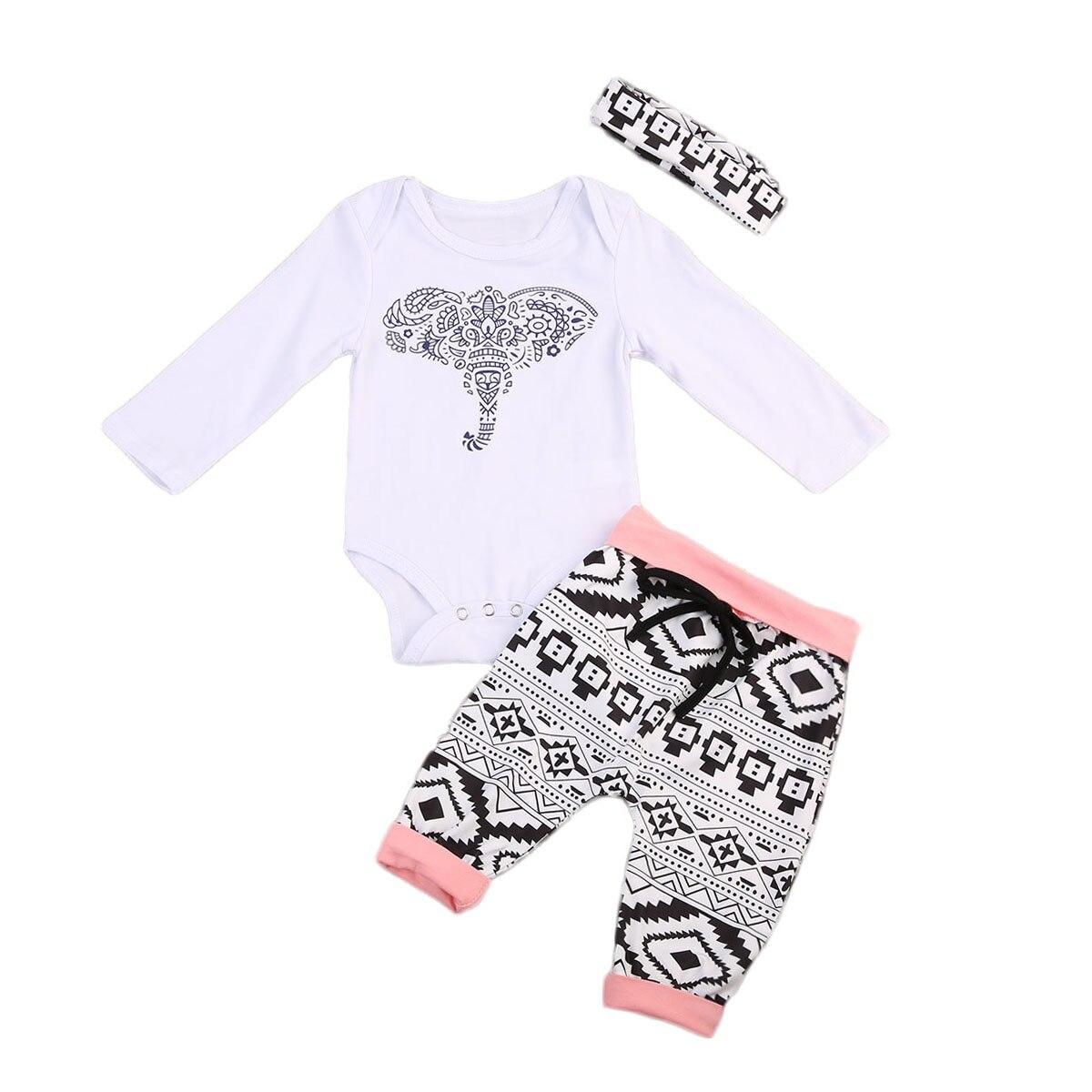 Cute Newborn Baby Boy Girl Romper Suit Elephant Tops+Long Pants Headband 3pcs Outfits Set