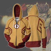 цены Fans Wear Sweatshirt The Flash Hoodies Justice League The Flash Zipper Cosplay Hoodie