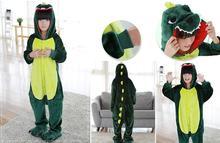 dinosaur green Cute Cartoon Animal Pajamas Sets kid Pajamas sets Winter Super Soft Flannel Nightie Stitch Pyjamas Sleepwear