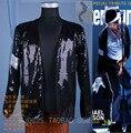 Moda Rare Cosplay MJ Michael Jackson BILLIE JEAN JAQUETA de LANTEJOULAS-PREMIERE